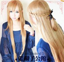 Sword Art Online Asuna Coplay stereotypes long golden hair wigs,+ free wig cap