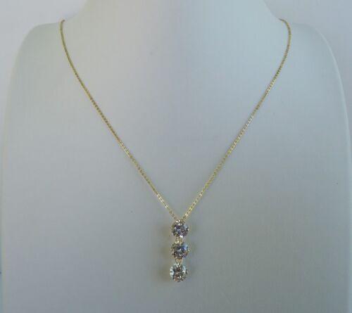 14K YELLOW GOLD LADIES 3 DROP CHAIN NECKLACE PENDANT W// 3 ct DIAMOND