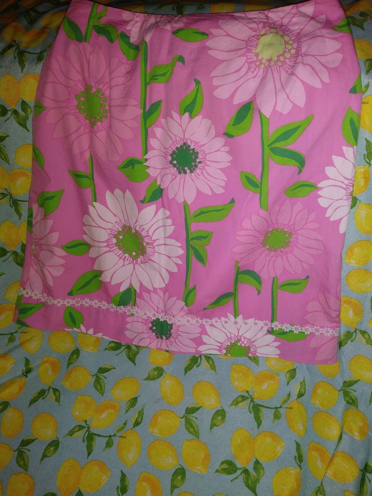 Lilly Pulitzer Pink Soleil Sunflower Floral Skirt Beautiful Sz 2