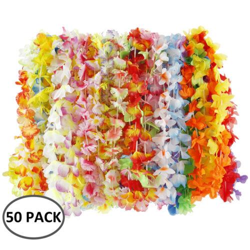 50pcs Hawaiian Flower Dress Garland Necklace Beach Luau Party Lei Leis Tropical
