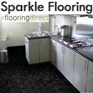 Black Sparkly Kitchen Flooring Glitter Effect Vinyl