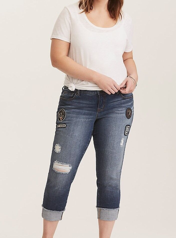 Cropped Boyfriend Jeans - Distressed Medium Wash w Patches Women's Size 14 NWT