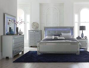 pc gray mirrored led lights king bed n s dresser bedroom furniture set