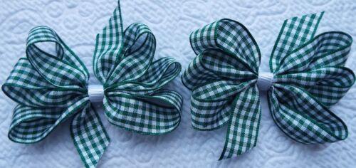 """2 vert et blanc vichy 3/"""" Pouces ruban cheveux arcs Alligator Clip Set Nouveau"""
