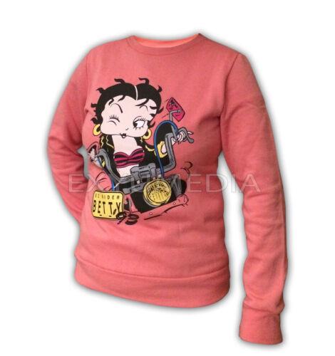 Sweatshirt Betty Boop Easy Rider ´93 Biker Girl rosa Damen Lady Pullover Lizenz