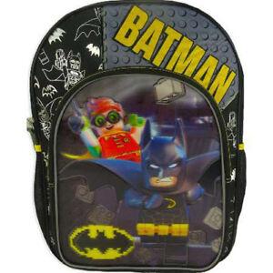 "DC Lego Holographic Batman Robin Backpack 16/"" Reflective School Book Bag"
