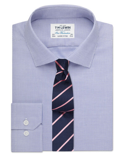T.M.Lewin   Super Fitted Navy Textured Oxford Shirt