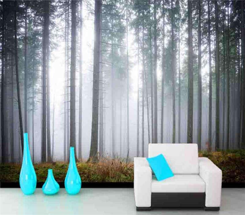 Turbidly Foggy Woods 3D Full Wall Mural Photo Wallpaper Printing Home Kids Decor