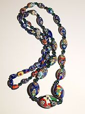 ART DECO VENETIAN MURANO MILLEFIORI GLASS BEADS NECKLACE.