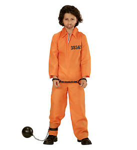 CHILDS CONVICT PRISONER COUNTY JAIL INMATE ORANGE JUMPSUIT KIDS ...