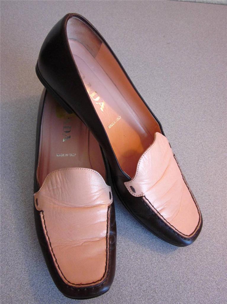Prada Brown & Peach Peach Peach Leather Driving Loafers Moccasins Sz 36.5 6.5 - Rt  695 efdf16