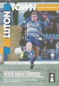 Football-Programme-Luton-Town-v-West-Ham-FA-Cup-26-1-1991