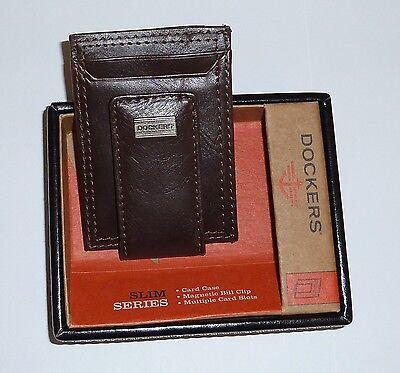 Dockers Leather Wallet Card Slots Case Bill Clip Front Pocket Brown Magnetic