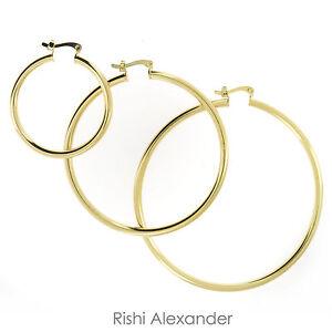 Image Is Loading 18k Gold Filled Hoop Earrings High Polished Hoops