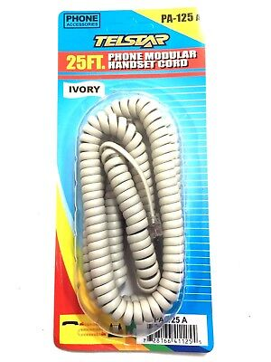 25 Feet 25 Foot BROWN Modular Coiled Telephone Handset Cord 25/' 25ft