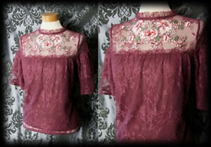 Gothic-Burgundy-Sheer-Lace-WINSOME-Detailed-Bib-Blouse-6-8-Victorian-Vintage