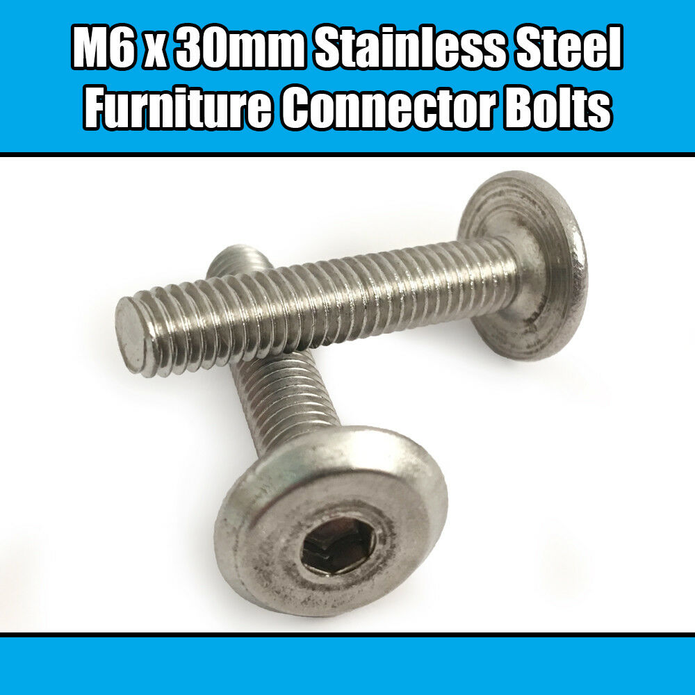 M6 x 30mm Stainless Steel Furniture Connector Bolts Fix Bed Cot Unit Table Desk