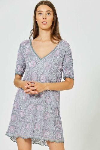 Elvi increíble todo con cuentas Embellecido con lentejuelas Vestido Recto Lila Size UK 12