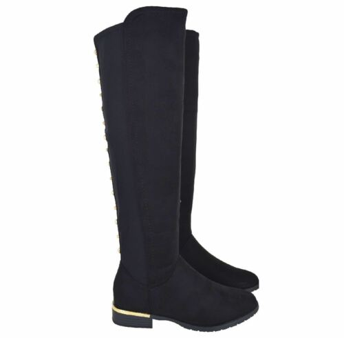 Ladies Womens Low Flat Block Heel Over the Knee High Stretch Stud Boots Size