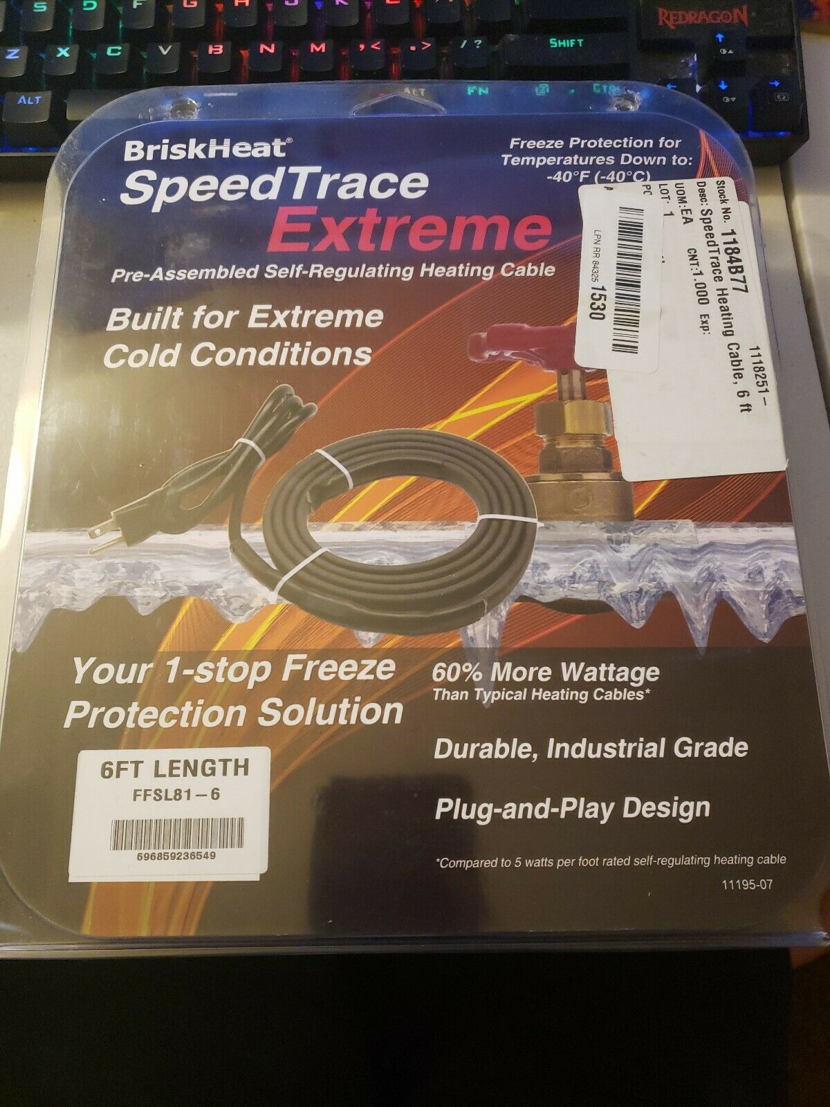 6ft with Plug BriskHeat FFSL81-6 Speedtrace Extreme Heating Cable 8 Watts//ft 120V