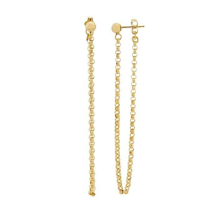 14k Yellow gold-Filled Rolo Chain Dangle Earrings
