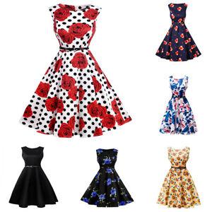 bdc82b8e512327 Das Bild wird geladen Damen-Vintage-Kleid-50er-Jahre-Rockabilly-Retro -Petticoat-