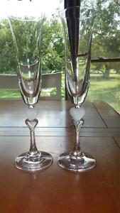 Crystal-Champagne-Flutes-Double-Heart-stem-Amore-Gorham-2-6oz-Wedding-toasting