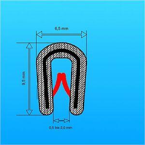 10m Kantenschutz mit Metalleinlage schwarz für 1-2 mm  Keder Dichtungsprofil !