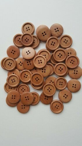 "1/"" 10 Pcs light coffee 4 holes round wood sewing buttons 25mm"