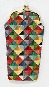 Signare-Brillenetui-Triangel-Multicolor-Gobelin-Knipsverschluss-Handyetui-Buegel