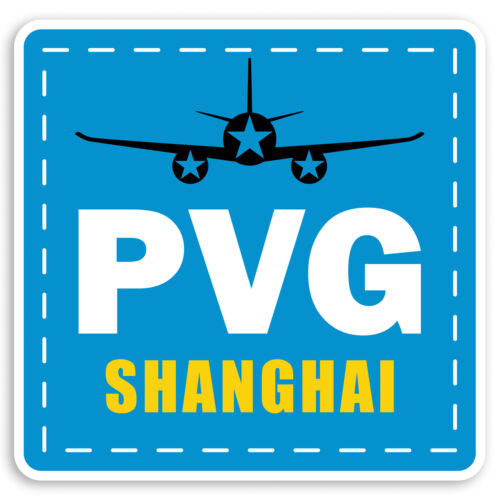 2 X 10cm PVG Shanghai aeropuerto de Equipaje de Viaje de China Pegatinas de Vinilo Adhesivo #31243