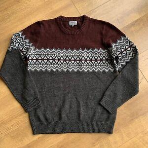"M&s Herren Fair-Isle Wollmischung Pullover Size Large 43"" Brustumfang grau burgund Nordic"