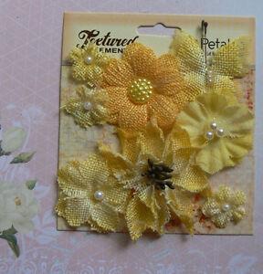 BURLAP-Textured-YELLOW-Combination-7-flower-amp-1-Butterfly-Mix-20-55mm-Petaloo