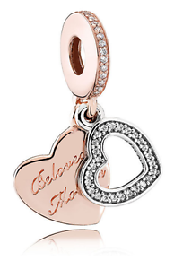 15be3b69e520c Details about BELOVED MOTHER Authentic PANDORA Rose GOLD Plated/Silver  HEARTS Dangle Charm NEW