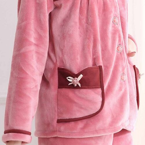 Winter Warm Women/'s Pajama Flannel Loungewear Tops Pants Set Home Sleepwear