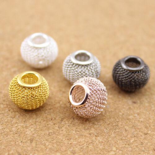 10pcs//lot or plaqué argent maille Spacer Beads Fits À faire soi-même Bracelet Bijoux Making