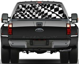 WAVING CHECKERED FLAG Rear Window Graphic Perforated Decal Truck Window Wrap