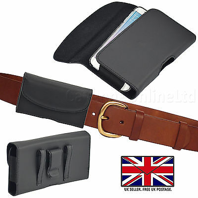 LEATHER BELT CLIP & LOOP HOLSTER PHONE POUCH CASE COVER FOR HTC MOBILE HANDSETS