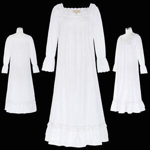La foto se está cargando Womens-Long-Sleeve-Square-Neck-Cotton-Nightgown -Sleep- 6da3b0fde