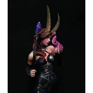 1-10-Horned-Female-Warlock-Bust-Resin-Figure-Model-Kit-Unassembled-and-Unpainted