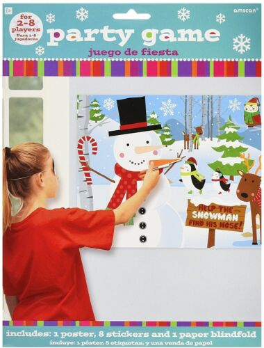 Pin the Nose on Snowman Christmas Party Game Stocking Filler Boy Girl 8 Player