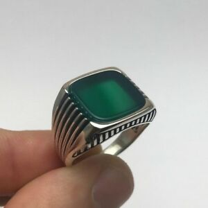 94ad9a62c3 Turkish Ottoman Jewelry Line Green Agate Cool 925K Sterling Silver ...