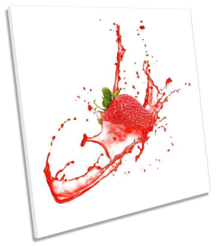 Strawberry Splash Kitchen SQUARE CANVAS WALL ART Framed Print