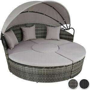Détails sur Salon de jardin lit mobilier canapé extérieur en résine tressée  et table