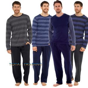 Mens-Pyjama-Long-Sleeve-Top-Trousers-Pj-Nightwear-Cotton-Lounge-Wear-PYJAMAS