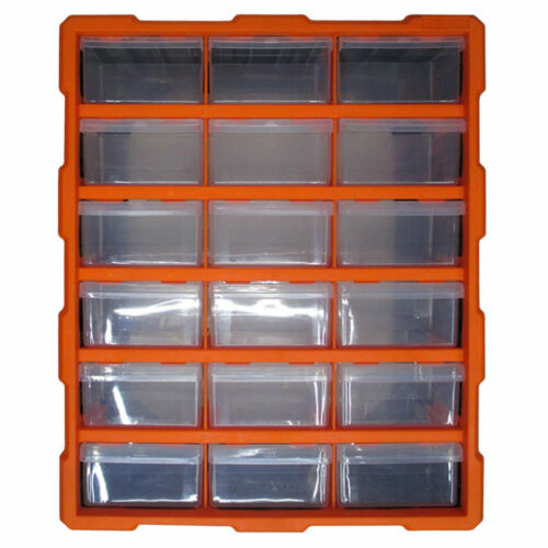 18 Drawer Multi Unit Double Storage Cabinet Box Workshop Handy Crafts Organizer