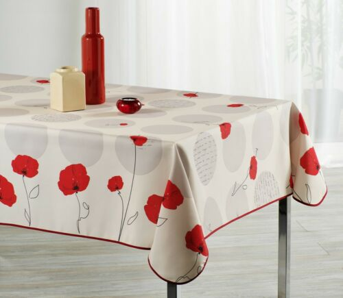 Infroissable Anti Taches Nappe Fleur Coquelicot rectangulaire 100/% Polyeste