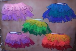 NWOT-3-Layer-Ruffled-Chiffon-Backskirt-Contemporary-Lyrical-Latin-Feel-5-colors