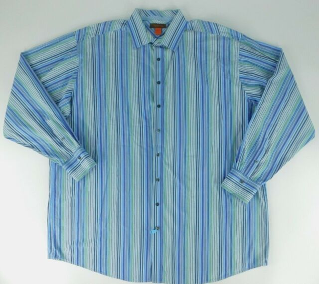 Nyne Mens Long Sleeve Collared Blue Striped Shirt Size 3XLT 100% Cotton