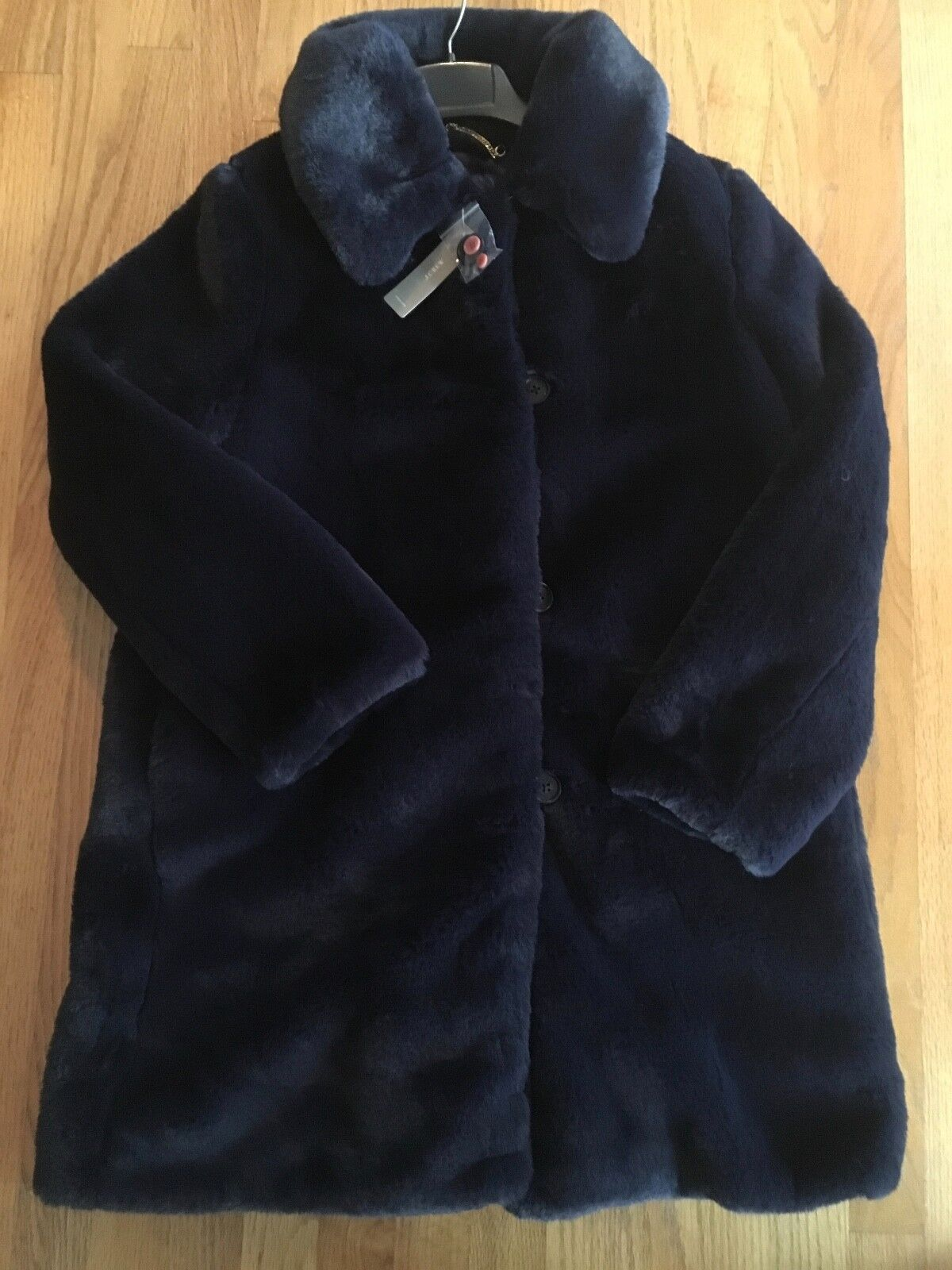 J Crew NWT Faux-Fur Coat Navy  Size S  M    K3099   Retail  Holiday 2018